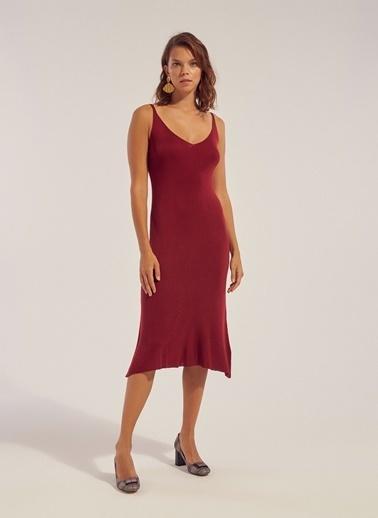 Monamoda Askılı Triko Kalem Elbise Bordo